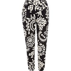 Black and white tribal print tapered trousers - slim trousers - trousers - women RIVER ISLAND