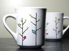 Hand Painted Mugs Colorful Birds Set of 2 by PrettyMyDrink. I may or may not have a small coffee mug addiction currently. Sharpie Projects, Sharpie Crafts, Sharpie Pens, Sharpies, Hand Painted Mugs, Hand Painted Pottery, Hand Painted Ceramics, Painted Initials, Painted Porcelain