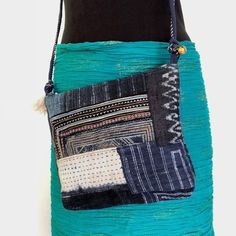 b4fe6a3d5e15 Crossbody Bag - Indigo Hemp Fabric and Boro Stitching - Hmong style