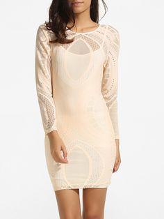 Round Neck Dacron Hollow Out Lace Patchwork Plain Bodycon-dress