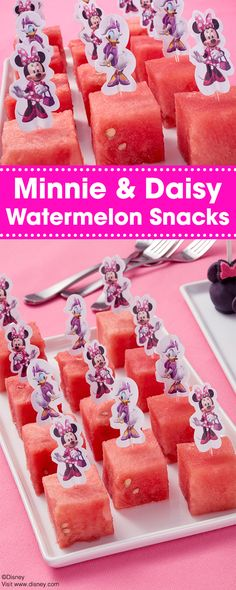 Dress up cubes of watermelon with fun Disney Minnie Mouse and Daisy Duck-themed Fun Pix. This is a great way to serve fruit for a party since these Fun Pix can also double as little serving utensils. Add more color by including bite-sized pieces of honeydew melon, cantaloupe or mangoes.