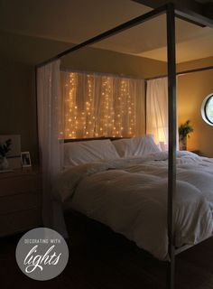 Twinkle lights behind a sheer drapery.