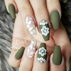 olive green nails with white flower and clear vine accent nails Clear Nails With Design, Clear Nail Designs, Green Nail Designs, Acrylic Nail Designs, Nail Art Designs, Acrylic Nails Green, Green Nail Art, Cute Acrylic Nails, Cute Nails