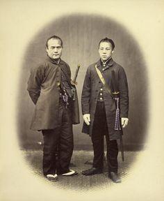 Yakunins in Semi-Foreign Costume; Felice Beato (English, born Italy, 1832 - 1909); Japan; 1866 - 1867; Hand-colored albumen silver print; 26.8 x 21.9 cm (10 9/16 x 8 5/8 in.); 84.XO.613.78