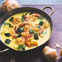 Easy recipe for coconut curry with shrimp, chicken or vegetables. This quick curry recipe can be made with vegetables or seafood or anything you want