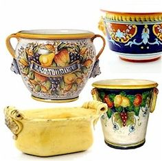 At Artistica we feature a large assortment of completely hand made and free hand painted  cachepots and planters.  You will know that our cachepots were made freehand, because in the inside you can feel the grooves left by the hand thrown process and in most of them you can slip you fingers under the rim as well, a clear indication that no molds were used.  All cachepots/planters are masterfully and painted in Deruta-Umbria and Tuscany.