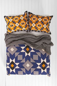 navy blue, gray, cheddar and white 4040 Locust Star Quilt - Urban Outfitters Textiles, Star Quilts, Home Bedroom, Bedrooms, Soft Furnishings, Home Textile, Quilting Designs, Floor Pillows, Bedding Sets