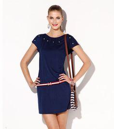 b2bca33ab Vestido mujer manga corta punto con aplicaciones Moda Mujer T3 Venca