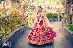 Pink bridal lehenga , pink velvet bridal lehenga , twirling bride , velvet bridal lehenga , pink and gold lehenga , velvet sabyasachi lehenga ,