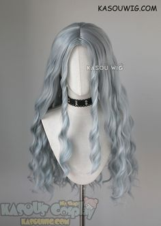 My Hero Academia MHA Eri long grayish blue middle-parted wavy cosplay wig Kawaii Hairstyles, Pretty Hairstyles, Wig Hairstyles, Anime Wigs, Anime Hair, Hair Up Styles, Wig Styles, Cosplay Hair, Cosplay Wigs