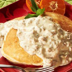 Buttermilk Biscuit Pancakes with Sausage Gravy