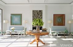 Sofas and lamps, Jan Showers Collection. Vintage coffee tables, René Drouet. Rugs, Kyle Bunting. Art, Jason Salavon. Sculpture, Robert Bradshaw. chairs and table jan showers. benjamin moore regal select oxford white