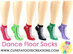 Dance floor party socks for Bar Mitzvah, Bat Mitzvah, B'Nai Mitzvah, B'Not Mitzvah in Converse Sneaker Style Low Cut No Show Socks in Navy Blue, Pink, Red, Lime Green, Dark Green, Lavender Purple by Cutie Patootie Creations. www.cutiepatootiecreations.com