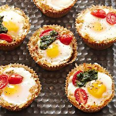 Say good morning with these adorable mini baked breakfast cups. More brunch recipes: http://www.bhg.com/recipes/breakfast/brunch/brunch-recipe-ideas/?socsrc=bhgpin091513breakfastcups#page=7