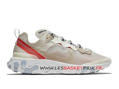 promo code fba59 0d7e6 Nike React Element 87 Chaussures Nike Running Pas Cher Pour Homme Blanc  Rouge AQ1090-100