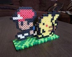 Ash & Pikachu Perler Bead 3D Game Scene