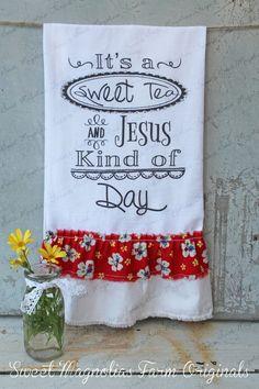 Flour Sack Kitchen Towel... Farmhouse Style by SweetMagnoliasFarm