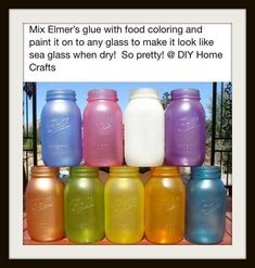 Seaglass Jars.  Seal w/ polyurethane to make it permanent