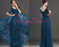 Vestidos De Festa Longo Upscale Scoop Beach Floor-Length Royal Blue Chiffon Pleat Women Mother of the Bride Dress Robe De Soiree
