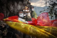 Tigers Nest and Prayer Flags 3000 meters high up in the Himalayan Mountains sits the Tigers Nest Monastery (or Taktsang Palphug). Located near the city of Paro in the Kingdom of Bhutan. Buddhist Shrine, Buddhist Temple, Gross National Happiness, Thunder Dragon, Prayer Flags, Photo Competition, Photography Contests, Move Mountains, Travel Photographer