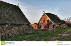 Traditional old Viking Age house hut in Bork village, Denmark.
