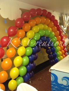 Noah's ark themed Baptism, rainbow link o loons, rainbow arch, helium balloons, link o loons rainbow, Noah's ark stand up, raindrops, wave table cloth, k creations. #kcreations