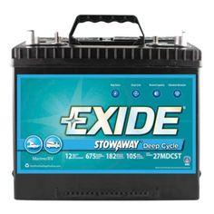 Exide Stowaway Deep Cycle Marine/RV -Deep Cycle Battery, 27MDCST