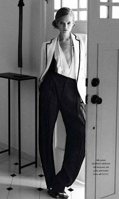 armani silk jacket with a gucci silk bodysuit. so chic.