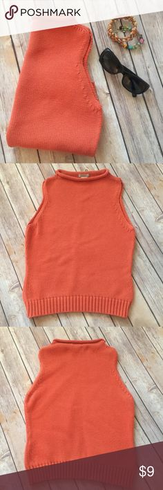 """JCREW sweater Fun bright orange roll neck sleeveless cable knit sweater. 19"""" long, 15% cotton. 100% cotton. Hard to notice stain on right front, otherwise in very good condition. J. Crew Sweaters"""