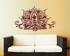 Lotus flor pared etiqueta Yoga Studio vinilo Sticker Decals Mandala ornamento marroquí patrón Namaste Home decoración Boho bohemio dormitorio ZX167