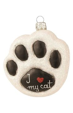 Nordstrom at Home Nordstrom at Home 'I Love My Cat' Handblown Glass Paw Ornament available at #Nordstrom