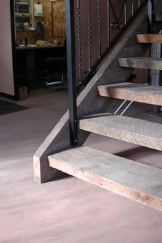 stairs open riser closed treads landings | mr wrought iron fir open rise stair with western stringers closed ...