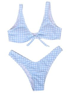 c3f1ba3436d Lacing Bow Plaid Deep V String Bikini Sets Swimwear For Women is worth  buying