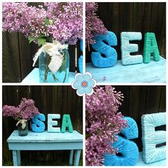 cover name letters with sea colored yarn, paint bed side table blue