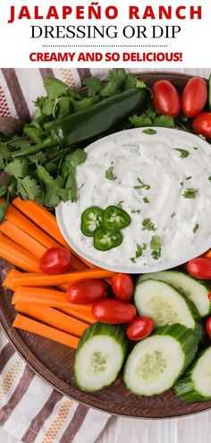 Creamy jalapeño ranch dip (or dressing) is loaded with mild chile peppers, both jalapeño and canned green chiles. This sauce is so easy and delicious with chips, veggies, tacos, or salads. Dip Recipes, Sauce Recipes, Appetizer Recipes, Great Recipes, Easy Recipes, Easy Meals, Appetizers, Cooking Recipes, Healthy Recipes