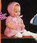 baby dolls clothes knit pattern PDF dress bonnet jacket bootees leggings vest 12…