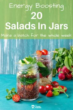 20 Salad in a jar recipes to make your mouth water! Check out these 20 Mason jar recipes to boost your energy and batch process your salad making for the whole week! Blender Recipes, Raw Vegan Recipes, Jar Recipes, Whole Food Recipes, Juicer Recipes, Healthy Recipes, Vegan Meals, Healthy Eats, Beef Recipes