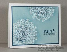I love the emboss resist technique and knew it would be perfect for this Moroccan Nights medallion.  I started with Soft Sky cardstock -- click for more details!