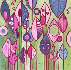 Geometric forest painting with shapes of periwinkle and pinks on a bright green background by artist Kathleen LeRoy in Boulder CO Forest Painting, Artist Painting, Flower Pots, Flowers, Green Backgrounds, Bright Green, Zen, Abstract Art, Doodles