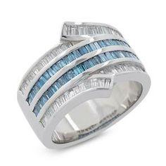 #Malakan #Jewelry - Platinum-Silver Treated Blue Diamond Ladies Ring 78413A2 #Fashion #FashionRings #WomensFashion