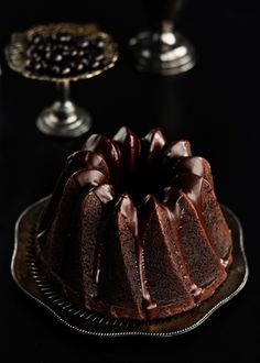 Chocolate espresso bundt cake with dark chocolate cinnamon glaze.