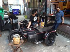 Crank Coffee. Self-contained barista on a an Yamaha with sidecar and trailer!