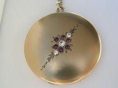 Large Art Nouveau Amethyst Flower Spray Crystal Brilliant Purple RS Antique Victorian 14K Gold Filled Locket Pendant w Chain Necklace