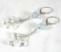 Aquamarine Earrings Long Dangle Silver by PlatiniFineJewellery, $24.00