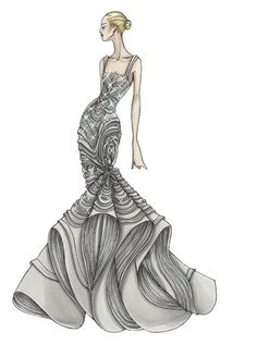 Goodness gracious- look at the crazy detail shown here on the fashion sketch!
