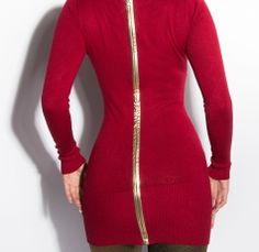 Stunning Long Sleeve Jumper Dress Full back Gold Zip Bordeaux