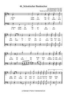 Schottischer Bardenchor (Männerchor) Friedrich Silcher (1789-1860) >>> KLICK auf die Noten um Reinzuhören <<<