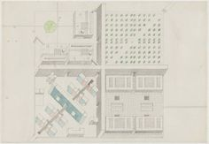 Rem Koolhaas, and Elia Zenghelis, with Madelon Vriesendorp and Zoe Zenghelis. Exodus, or the Voluntary Prisoners of Architecture, The Institute of Biological Transactions, project, Plan oblique