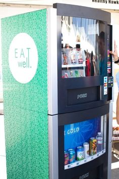#healthy, #gluten-free  INCREDIBLE idea...healthy vending machines...vitamin water, luna bars, coconut water...brilliant.