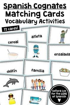 It might be a good time to learn Spanish. Spanish Cognates, Spanish Vocabulary, Vocabulary Cards, Vocabulary Activities, Preschool Activities, Spanish Teaching Resources, Spanish Activities, Spanish Games, Esl Resources